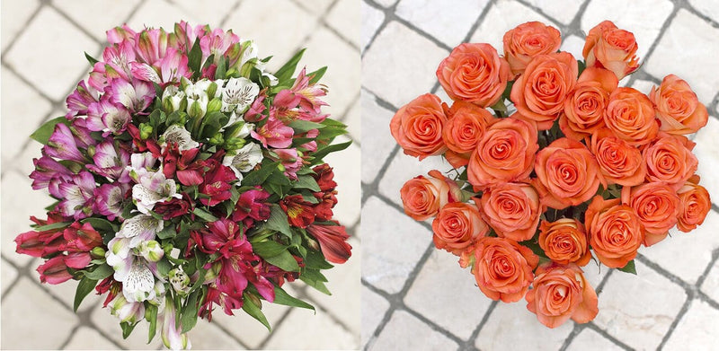 Alstroemerias and roses