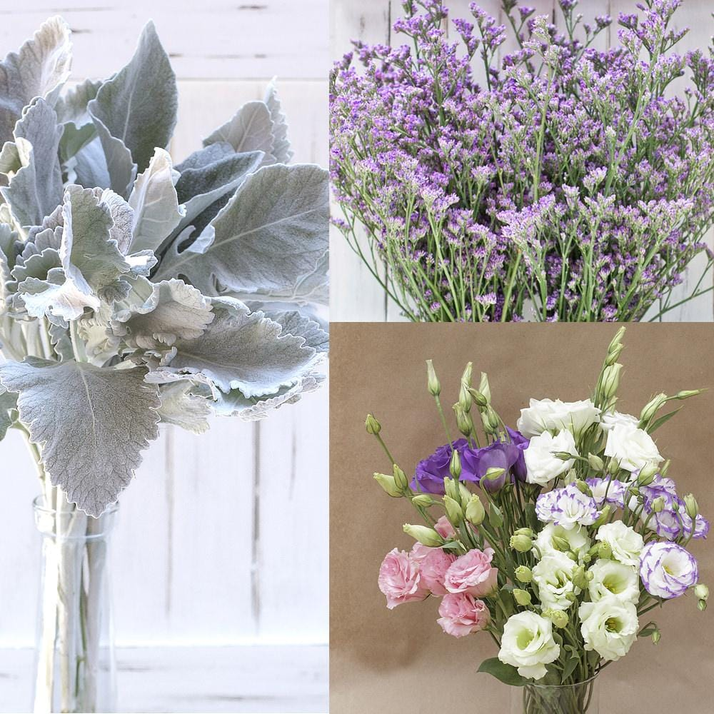 Lisianthus, Dusty Miller and Limonium Mix Box