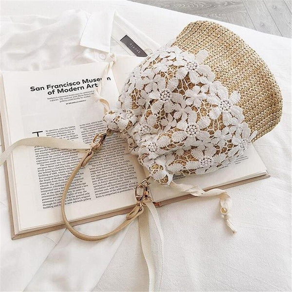 Summer Straw Bucket Shoulder Bag Handmade Lace Crossbody Bags NEW DESIGN 2019