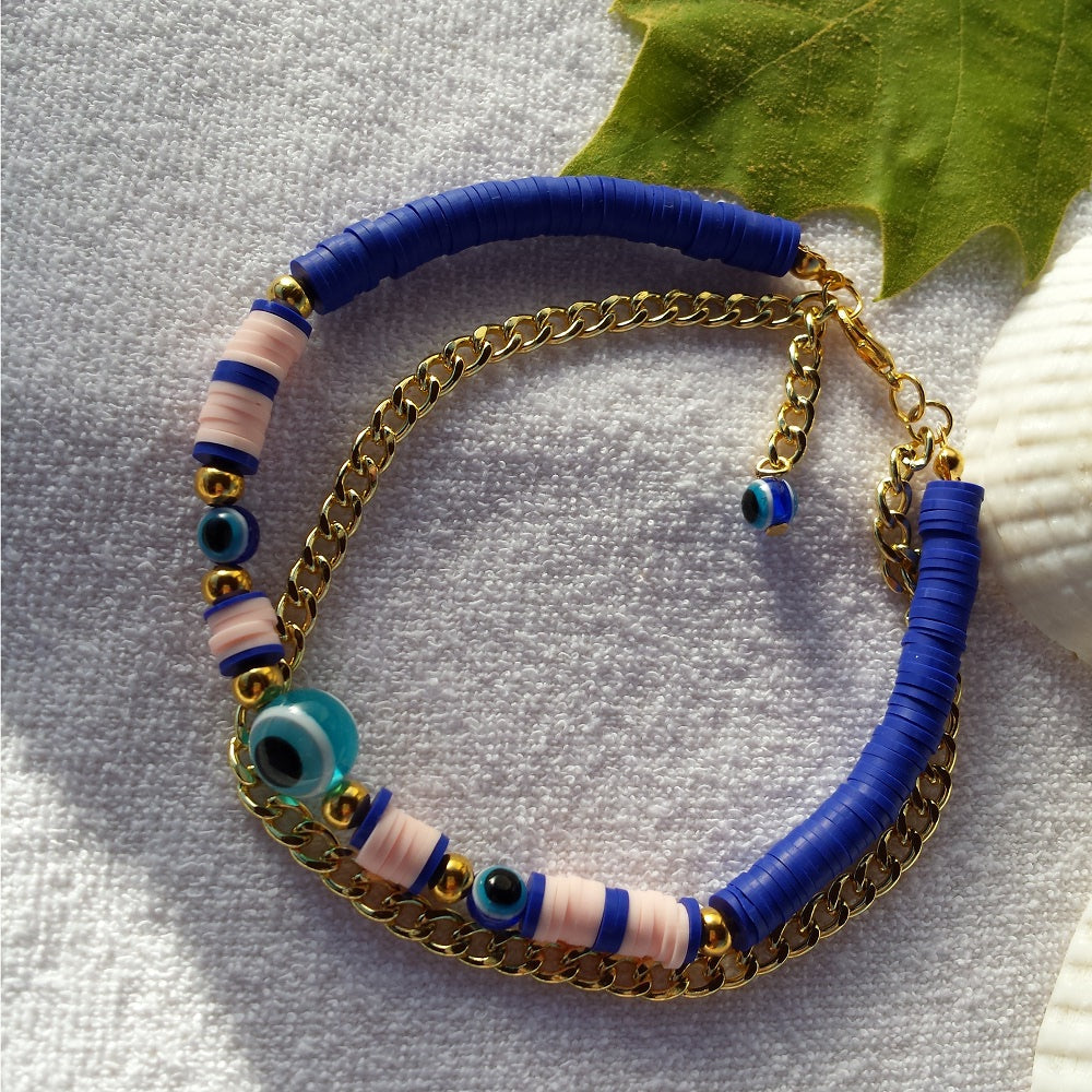 Handmade Evil Eye Glass Beads Anklets Summer Gold Chain Ankle Strap Halhal