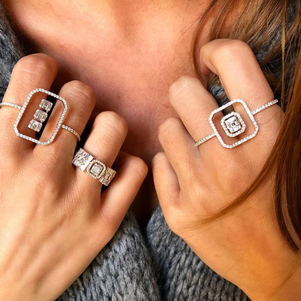 2 Fingers Cocktail Rings Luxury Charm Jewelry for Women