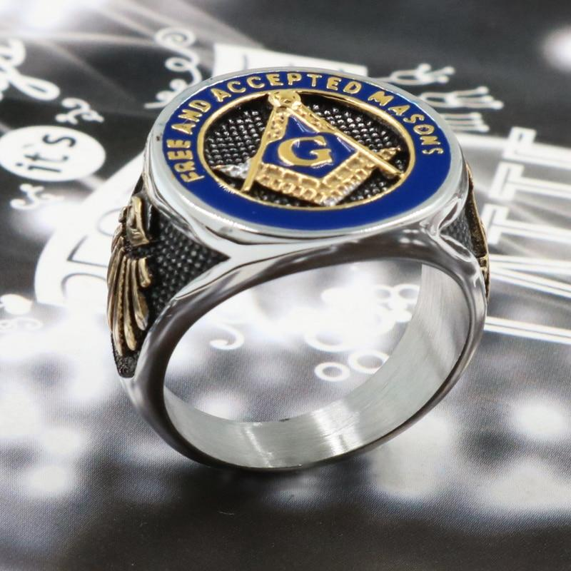 2019 New Blue Fashion Gold Color Male Masonic Steel Ring