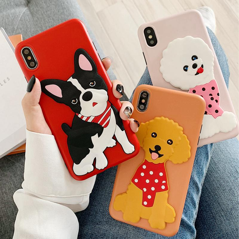3D Cartoon Bulldog Bichon Poodle iPhone Case Cute Phone Cases