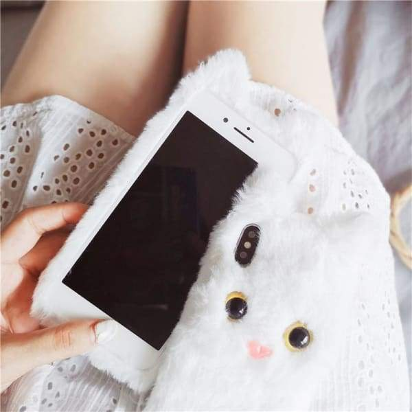 3D Cute Cat Furry iPhone Case Phone Cases