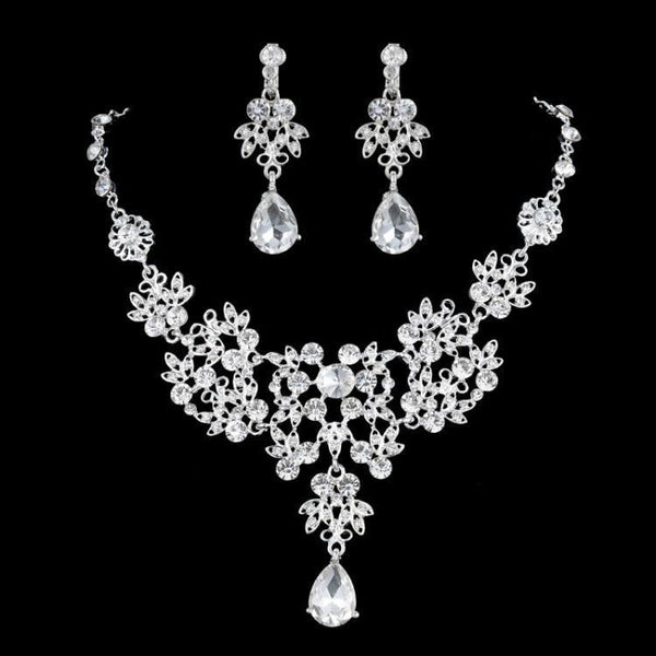 3PCS Crystal African Beads Bridal Jewelry Sets Necklaces Earrings Tiaras Set