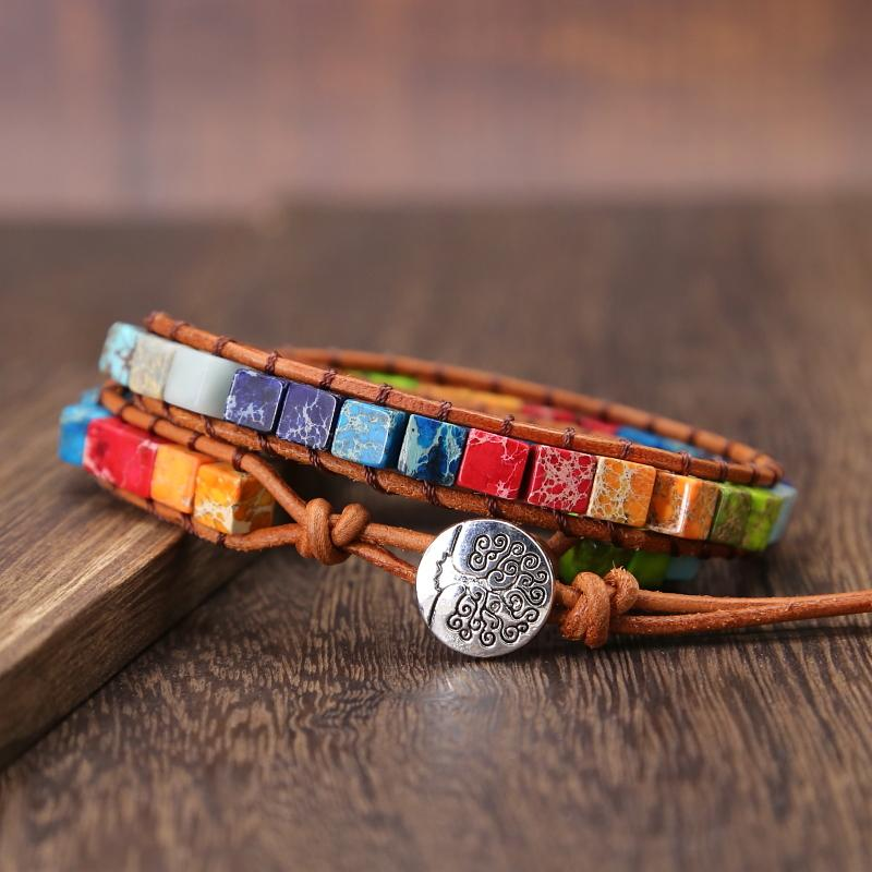 7 Chakra Boho Natural Stone Cube Beaded Leather Wrap Bracelet