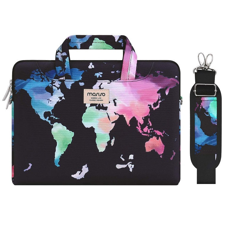 World Map Laptop Shoulder Bag Carrying Briefcase Sleeve with Trolley Belt