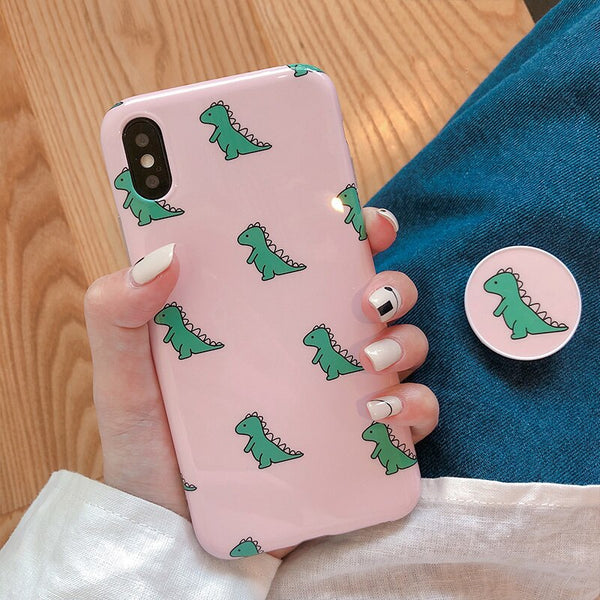 Cute Cartoon Dinosaur Phone Case For iphone XS Max XS XR/ With Bracket
