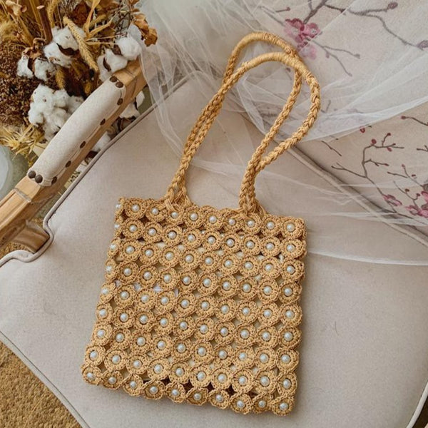 Handmade Design Pearl Straw Woven Shoulder Bags