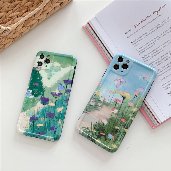 Oil painted Look Art Design Floral Butterfly Cute Phone Back Cover for iPhone 11 Pro X/XS/XR Max