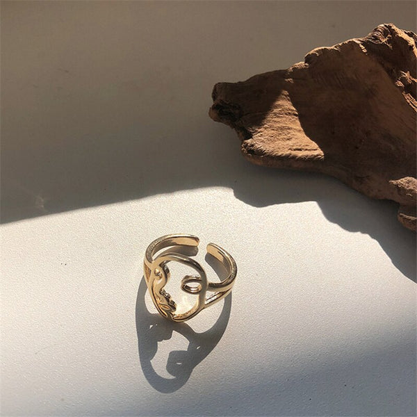 Fashion Concise Human Face Abstract Outline Smiley Face Bangles Abstract Hollow Face Earrings For Women Punk Gold Human Face Dangle Earrings Fashion Jewelry pendientes mujer moda