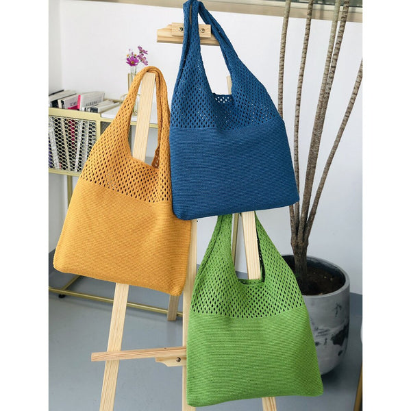 Retro Hollow Knitting Handbag Shoulder Tote Bag