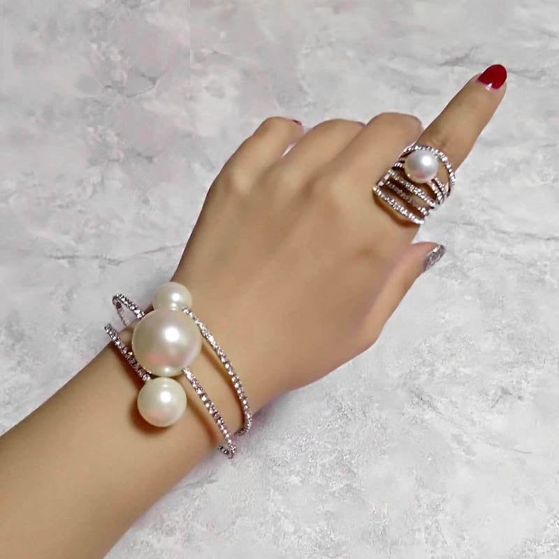 Wedding Jewelry Sets Big Pearl Multilayer Bracelet Bangle Rings Set