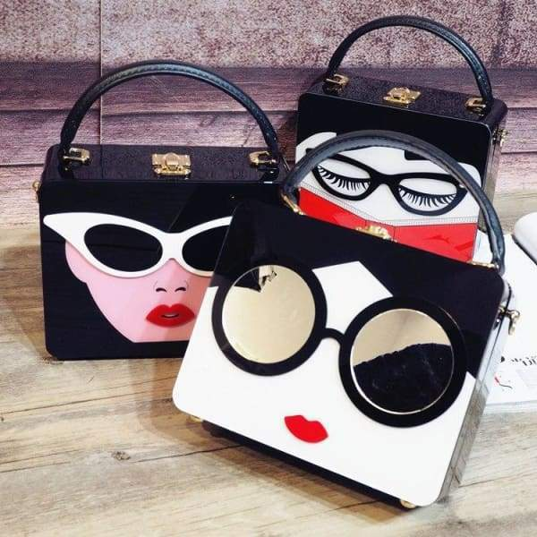 Acrylic Cartoon Woman Fashion Box Style Casual Shoulder Bag