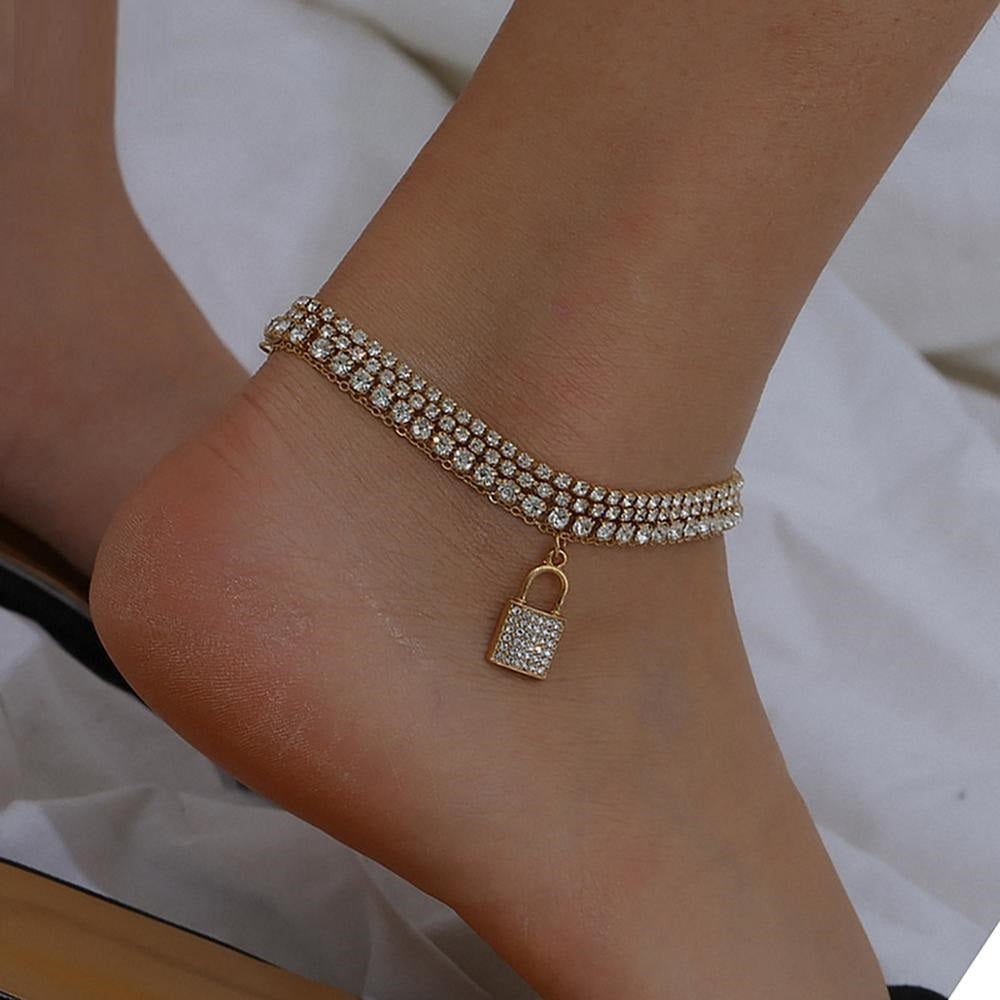 Charm Rhinestone Lock Anklet for Women