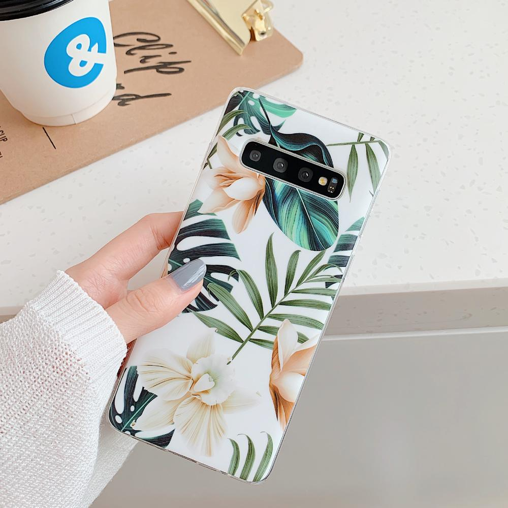 Art Plants Leaves Floral Phone Cases For Samsung Galaxy