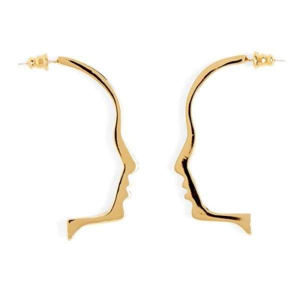 Art Style Gold Tone Face Outline Stud Earrings
