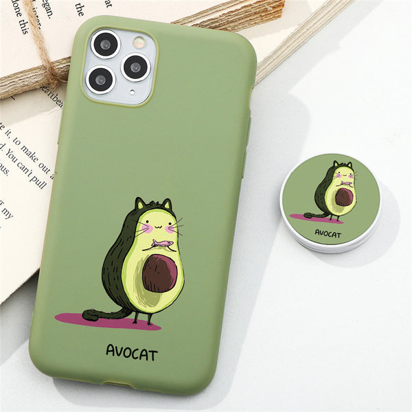 Cute Kawaii Cartoon Fruit Avocado Mate Phone Case for iPhone with Popsocket Phone Holder pretty best