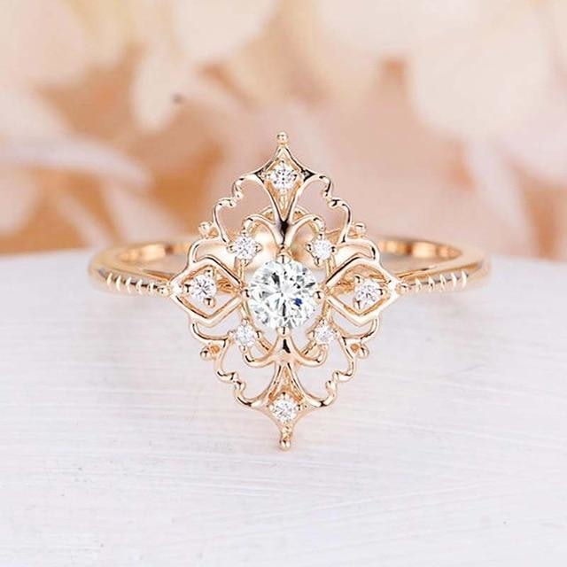 Baroque Style Luxury Rose Golden Flower Vintage Wedding Rings
