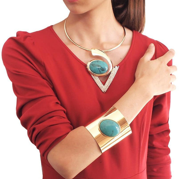 Big Jewelry Set Torques Choker Necklace and Cuff Bracelets
