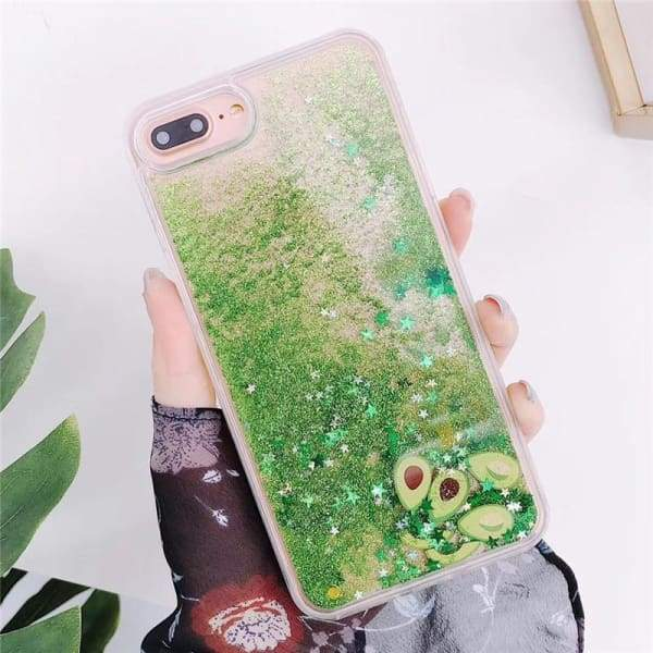 Bling Glitter Watermelon Avocado Phone Case iPhone X XR XS 6 7 8 6S plus Cases
