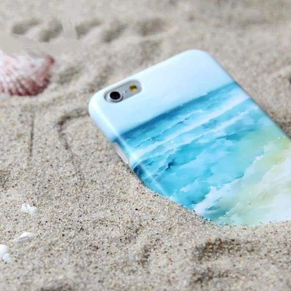 Blue Beach Sea Wave Painted Design Phone Case for iPhone Cases