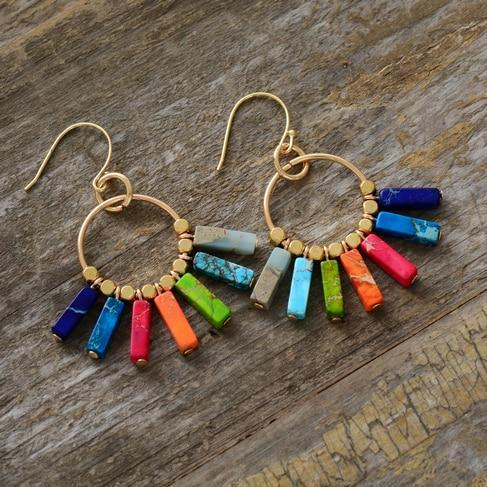 Bohemian Colorful Natural Stones Chakra Energy Drop Earrings