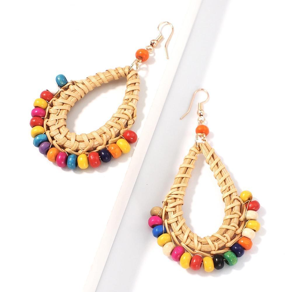 Bohemian Rattan Water Drop Earrings Statement Dangle Earring