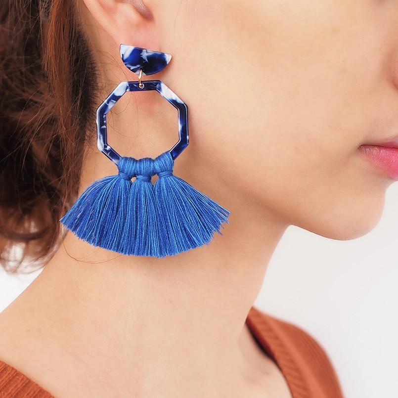 Boho Handmade Cotton Tassels Earring Acrylic Statement Earrings