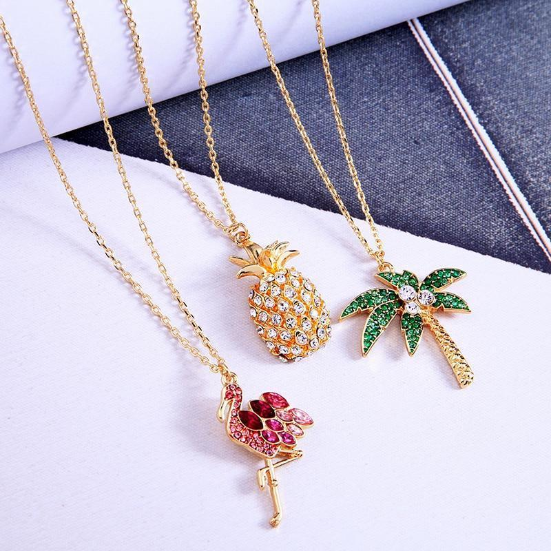 Chic Flamingo Pineapple Akee Crystal Necklace