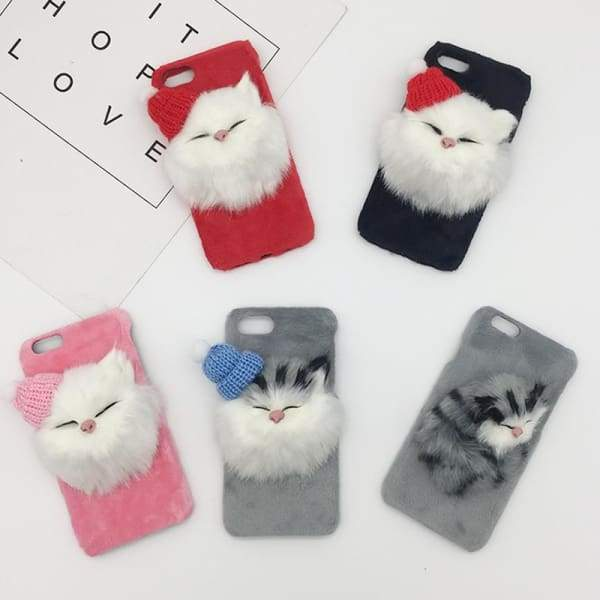 Christmas DIY Hat Cute Cat Fluffy Fur Phone Case For iPhone phone case
