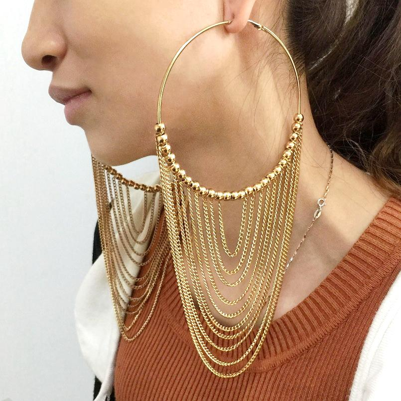 Circular Long Chain Tassel Earring Women Big Dangle Earrings