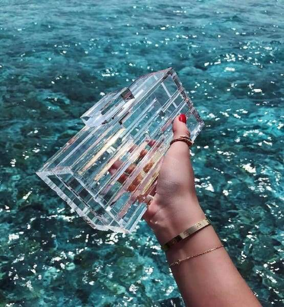 Clear Acrylic Clutch Box Women Transparent Luxury Handbag Bags