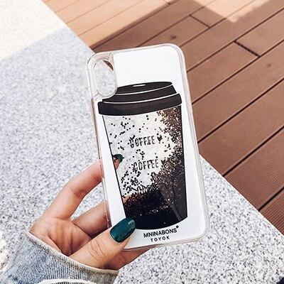 Coffee Cup Bottle Liquid Quicksand Transparent iPhone Case Phone Cases