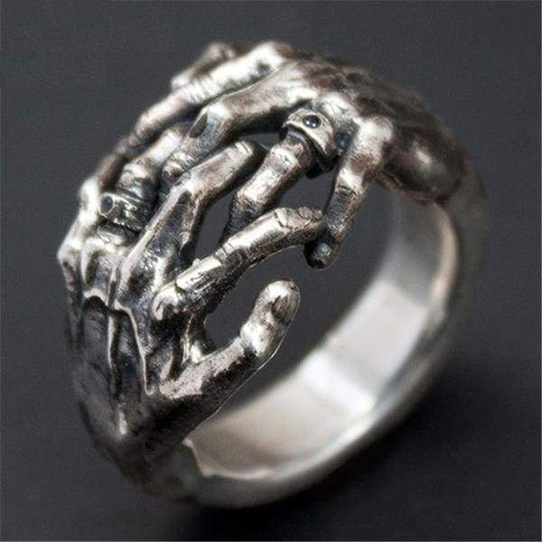 Cool Skull Hand Thai Silver Unique Design Open Ring for Men
