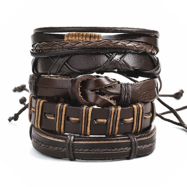 Cool Vintage Leaf Feather Multilayer Leather Mens Bracelet Bracelets