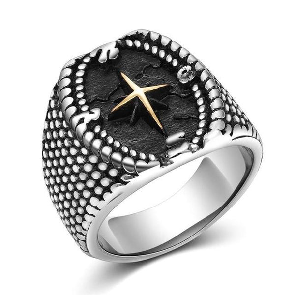 Cool Vintage Silver Stainless Steel Compass Style Men Ring