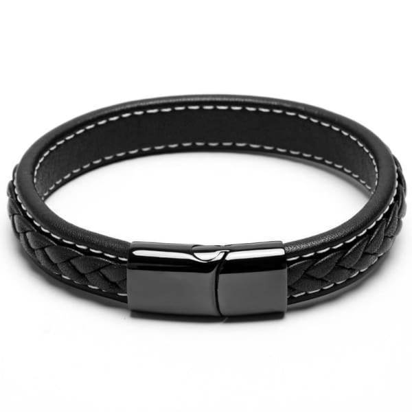Cross Braided Design Leather Bracelet Stainless Steel Magnetic Cuff Bangle Bracelets