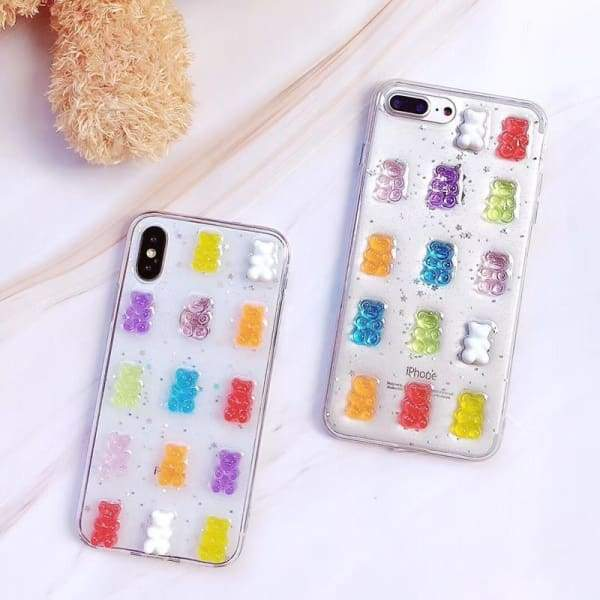 Cute 3D Gummy Bear Candy Color Transparent iPhone Cases Phone