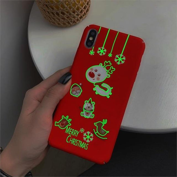 Cute Cartoon Christmas Luminous Phone Case for iPhone With Unique Gift Box Cases LABONNI