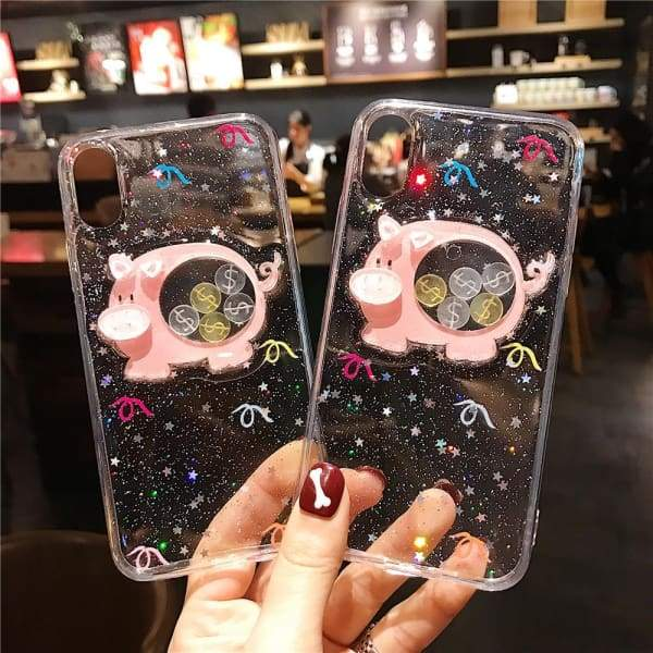 Cute Glitter liquid Piggy Bank Silicone Case iPhone Phone Cases