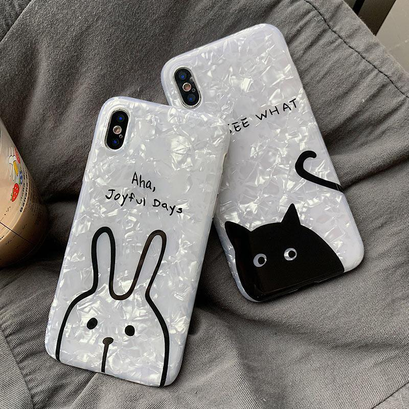 Cute iPhone Case Lovely Rabbit Cat Glossy Phone Cases