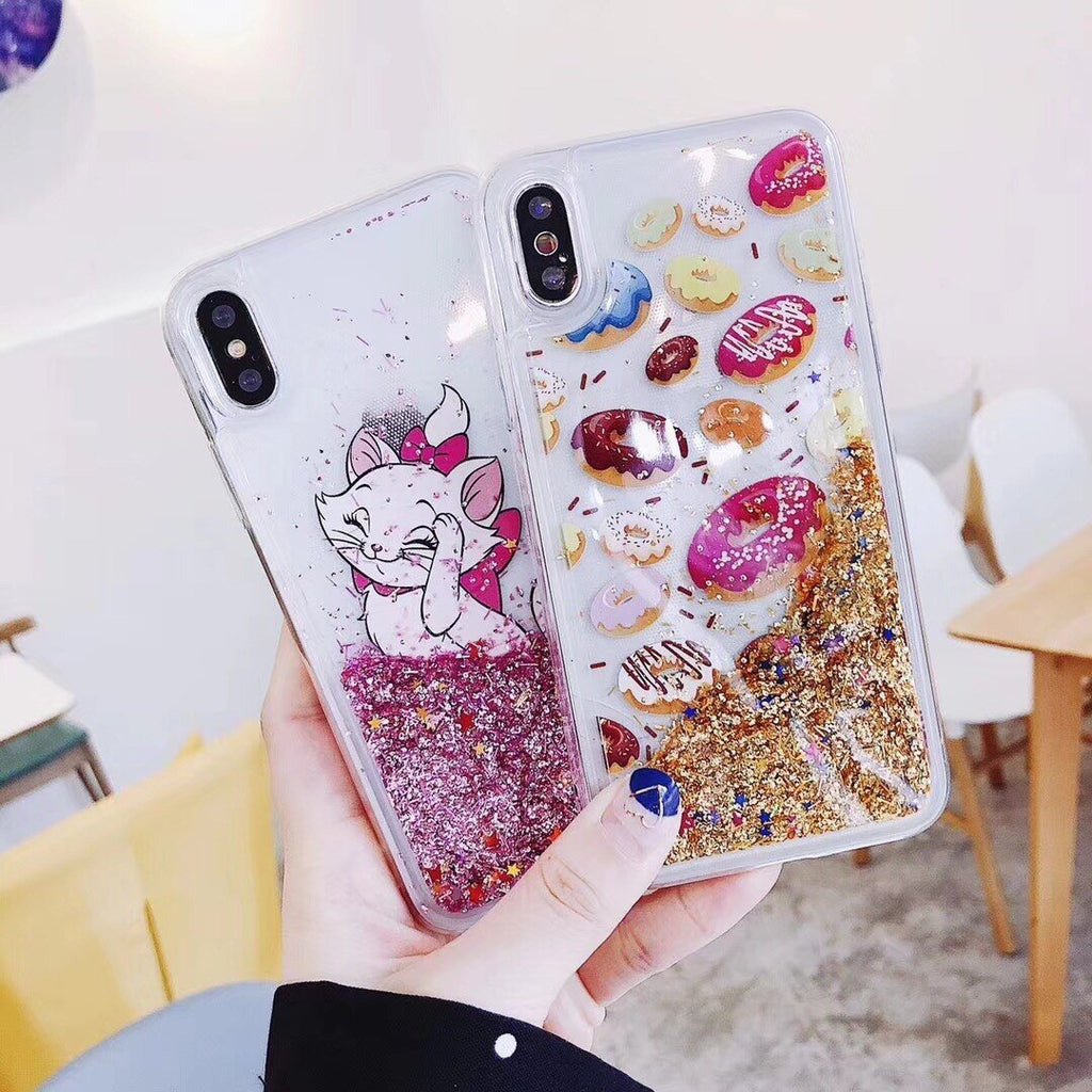 Cute Mary Cat iPhone Case Quicksand Dynamic Liquid Phone Cases