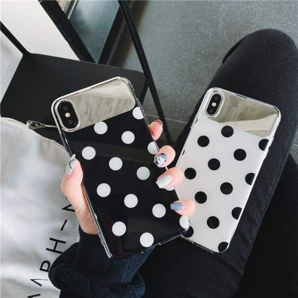 Cute Polka Dots clear Tempered Glass phone Cases For iPhone Phone