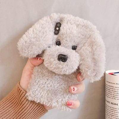 Cute Rabbit Hair Dog Plush Phone Case for iPhone Cases