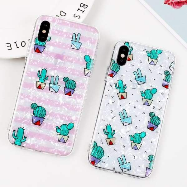 Cute Shiny Cactus Flower Phone Cases For iPhone