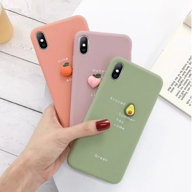 Candy Color iPhone Cases 3D Cute Avocado Letter Phone Cases
