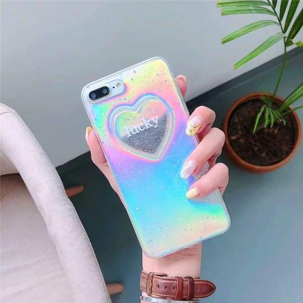 Dynamic Liquid Glitter Quicksand Case Colorful Love heart Printed Cover For Apple iPhone Phone Cases