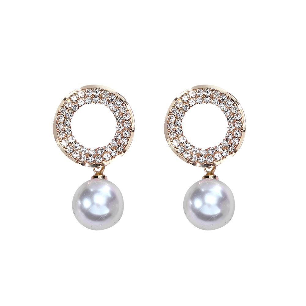 Elegant White Pearl Earrings Round Crystal Party Jewelry