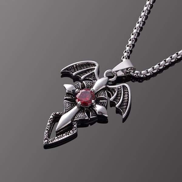 Evil Wings Red Zircon Crystal Cross Sword Pendant Stainless Steel Chain Choker Jewelry Necklace